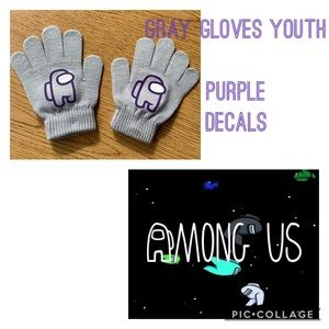 Youth Among Us decal gloves -Gray & purple decal